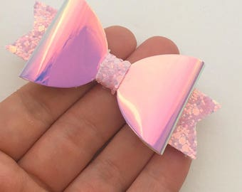 Limited Edition Glitter Bow - Pink iridescent holographic rainbow hair bow, unique pinch clip, gifts for girls
