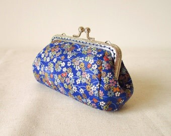 Clutch Cosmetic Bag Toiletry Bag Blue Floral Purse By BerriesDot