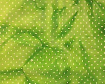 By The HALF YARD - White Polka Dots on a Tonal Lime Green Batik, 100% Cotton