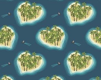 By The HALF YARD - Island Girl by Lewis and Irene, Pattern #A190.3 Deep Blue Heart Island, Palm Trees on Islands in the Ocean
