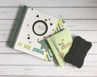 Baby Journal Grey Elly + Milestone Cards + Selfie Board