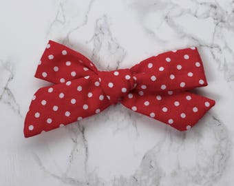 Red and White Polka Dot Hand Tied Schoolgirl Bow