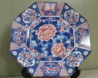Vintage Toyo large octagonal plate with florals and birds. Beautiful colors!