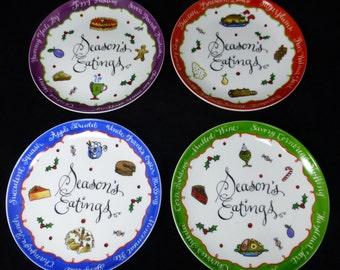 Seasons Eatings set of four Christmas plates - Boston Warehouse – Whimsy Collection – Jill Seale