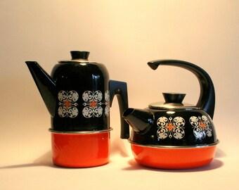 Pair of vintage enamel kettles / Made by Gorica Yugoslavia / orange and black teapots