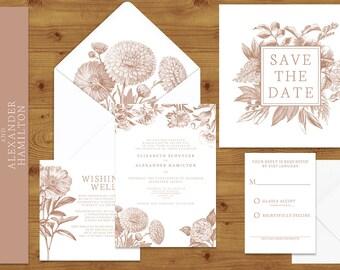Nude Beige Engraved Floral Wedding Invitations Stationery Set - Printed or Digital Download - Neutral Wedding - Wedding Printable