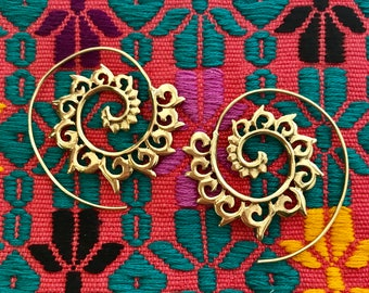 Tribal Sun Spiral Earrings