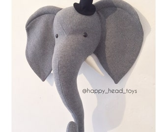 Mr Elephant grey color. Faux taxidermy, wall mount elephant head. Nursery art, nursery decor