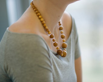 Wood bead necklace, wood necklace, beaded necklace, wood jewelry, unique necklace, natural necklace, eco design, handmade necklace