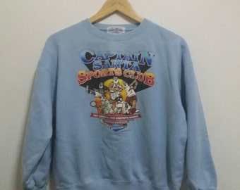 Vintage captain santa sweatshirt spellout with full picture/merry christmas/blue/small/made in japan