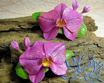 hair clips orchid, hair clips, hairpin,orchid, flowers hairpin, barrette with flowers, handmade, handcrafted barrette