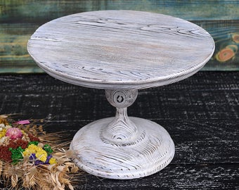 "12"" White Shabby Cake Stand Wooden Cake Stand Wedding Cake Stand Topper Cake stands Rustic"