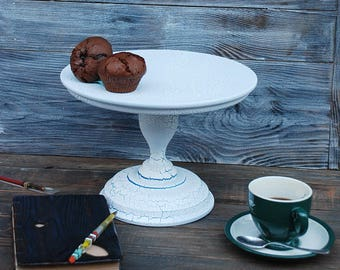 "12"" Wedding Cake Stand Wooden Cake Stand Topper Cake stands White Cake Stand"