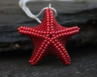 Red starfish pendant, starfish necklace, starfish jewelry, large starfish, glass starfish, handmade pendant, starfish accessories, sterling