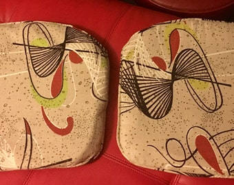 Pair of Fantastic 1950's Vintage Seat Cushions Pillows Eames Atomic Sputnik Mid Century