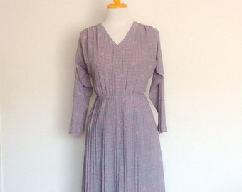 1980s Handmade Mauve Dress with Spot Pattern Vintage