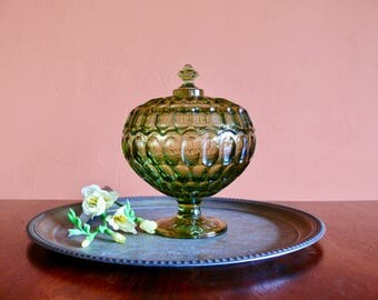 Fenton Thumbprint Colonial Anniversary Bowl, Green Glass Lidded Pedestal, Covered Compote, Candy Dish, Mid Century Art Glass
