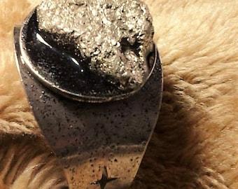 raw pyrite cuff bracelet//adjustable//metal cuff//raw pyrite
