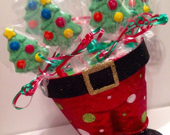 12 Chocolate Christmas Tree Lollipops Christmas Party Favors Winter Theme Dessert Ideas Holiday Party Favors