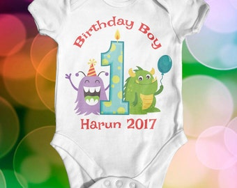 Monster first birthday custom baby bodysuit | cute baby clothes | baby birthday outfit | first birthday bodysuit | 1st birthday bodysuit