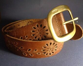 Vintage Ralph Lauren Leather Belt  LRL Belt - Brown Leather Belt - Wide Belt - Stamped Floral Cut Out Leather Ladies Belt Solid Brass Buckle