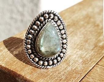 Silver ring with Labradorite ring size EU 55 / US size 7 1/4