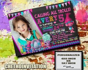 Trolls Invitation / Trolls Birthday / Trolls Invite / Trolls Party / Trolls Card Party / Trolls Party Invitation / Trolls Birthday Invite