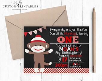 Sock Monkey Birthday Invitation; Printable Invitation; Sock Monkey Birthday Party; Chalkboard Invitation; Digital File; First Birthday; DIY