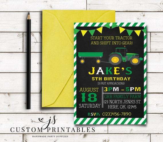 John Deere Inspired Birthday Invitation Printable Invitation