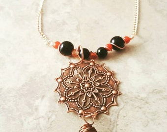 "Copper tribal necklace and earrings set, ""Vesta"" set, carnelian agate and black onyx  jewelry set, ethnic jewelry set, gifts for her"