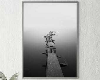Black and White, Black and White Photography, Black and White Print, Dock, Water, Fog, Sea, Fine Art Photography, Black and White, 182