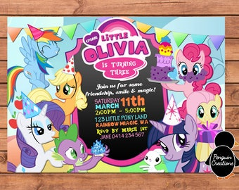 My Little Pony Invitation. My Little Pony Birthday Party. Party Supplies. Baby Shower.
