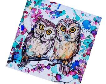 "Fridge Magnet Owls - ""Two little owls"""