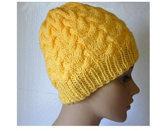 Knitted Cable Beanie, Womens Braided Knit Hats, Cable Knit Hat, Girls Knit Beanies, Yellow Hats, Cable Knit Hats