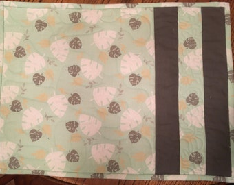 Set of Four Quilted Turquoise and Grey Placemats