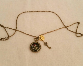 Steampunk style Pocket Watch necklace.