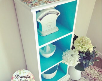 Bookcase | Display Shelf | Revamped and Painted | Blue and White |