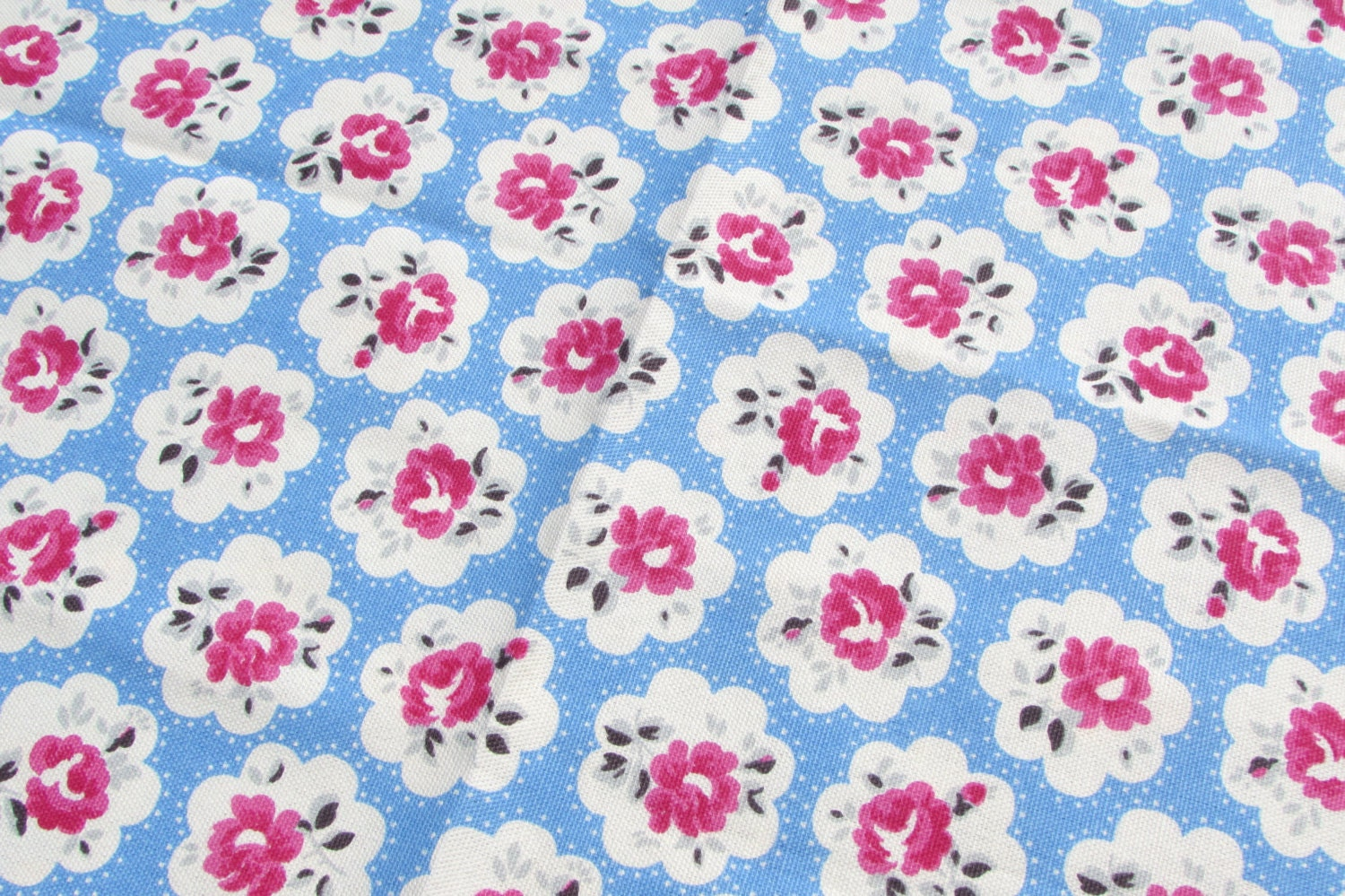 shabby chic cath kidston fabric fat quarter provence rose blue 50cms x 46cms from. Black Bedroom Furniture Sets. Home Design Ideas