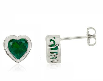 14K White Gold Bezel Set Quality Lab Created Green Emerald Gemstone Heart Stud Earrings - 1.4ct - 6mm Heart - May Birthstone - Gift for Her