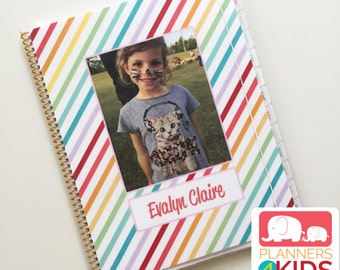 Planner for Kids in Custom Stripes School Year August 2017 - July 2018