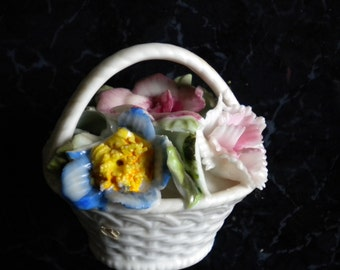 Figurine miniature porcelain flower basket stained vintage