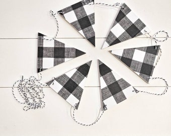 Black & White Plaid, Wood Bunting Flags , Bunting , Bunting Flags , Garland , Flags