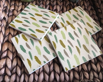 Coasters, Feather Coasters, Green Coasters, Decorative Coasters, Set of 4 Coasters, Tile Coasters, Drink Coasters, Ceramic Coasters