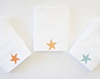 Embroidered Starfish Facial & Spa Cloths - Available in Designs and Monograms