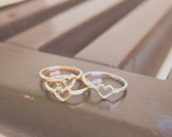 Heart ring in 9K pink / yellow / white gold