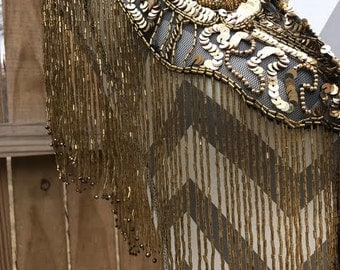Vintage Beaded Shall With Fringe, Gold Beaded Fringe Shall, Vintage Gold Beaded Shall, Vintage Beads