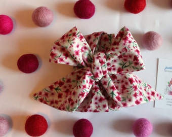 Skinny Tiny Pink Floral Headwrap - Headband - Turban - Topknot Headband - Bow Headband - Big Bow Headwrap - Baby Headwrap
