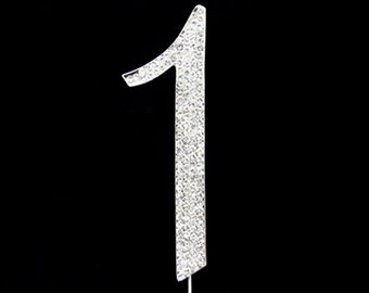 Silver Rhinestone Number Cake Topper