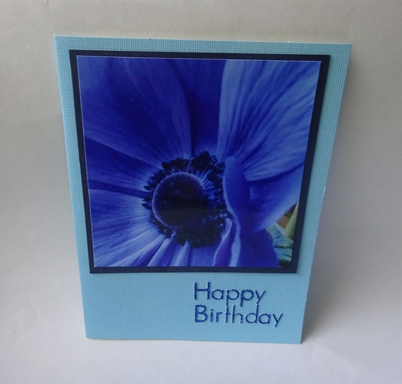 Birthday Card with Blue Anemone Flower - #1247