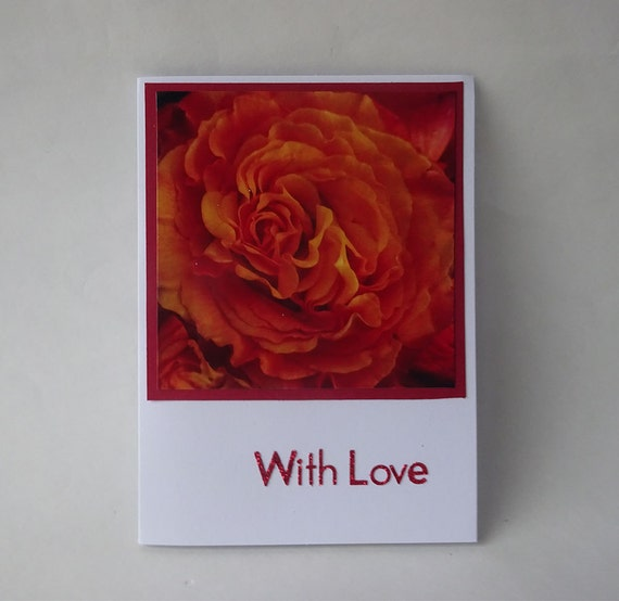 Love Card - Handmade Photo Card with Red Rose - #531